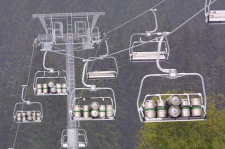 Beer transport by chairlift